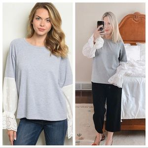 GILLI grey long sleeve tee with lace sleeves